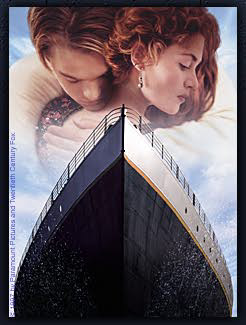 Composite picture of couple embracing over the front part of the Titanic
